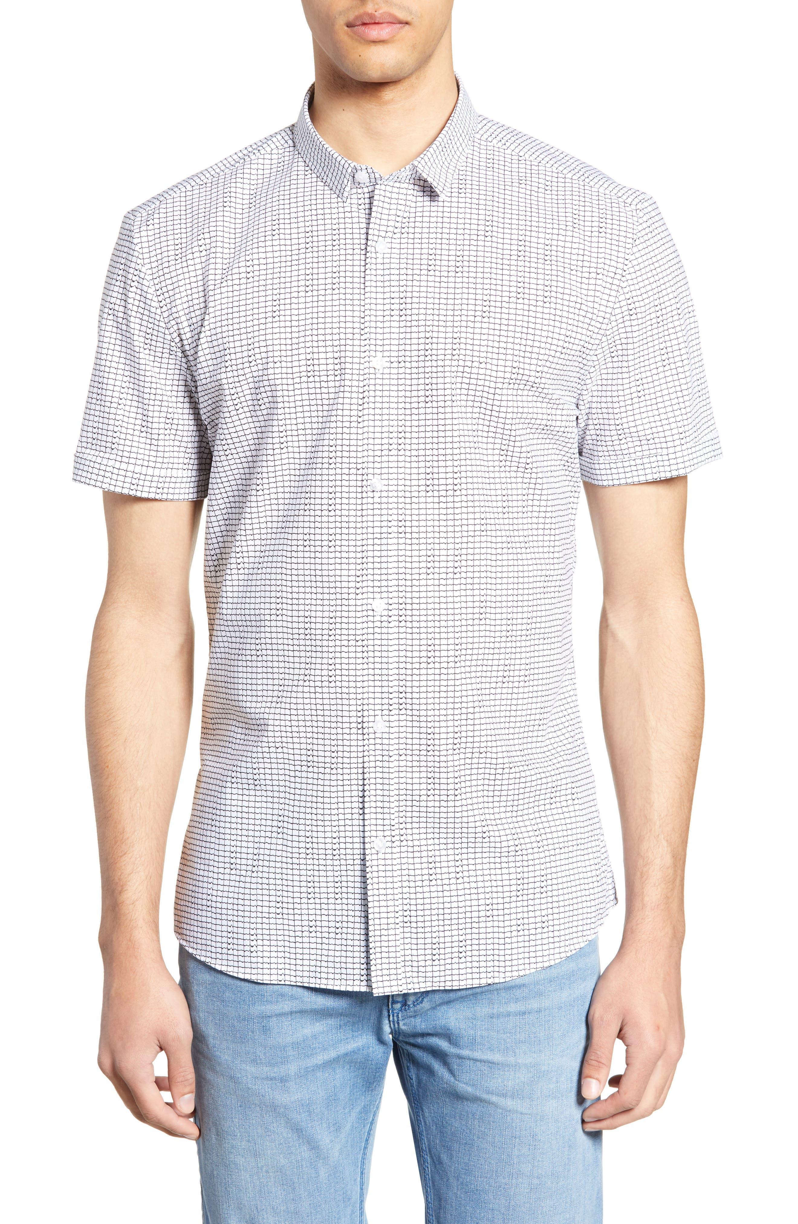 Empson Extra Slim Fit Print Sport Shirt, Main, color, WHITE