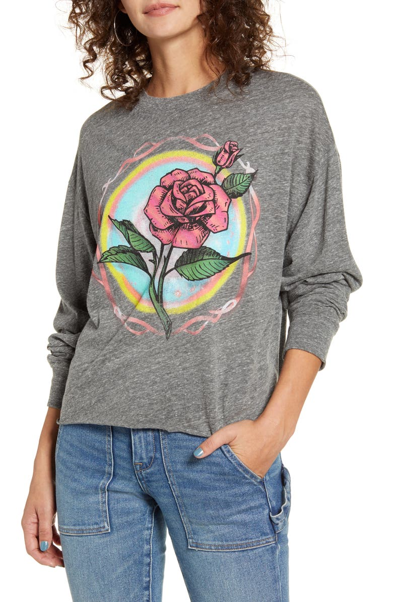 DAY Rose Graphic Crop Tee, Main, color, HEATHER GREY