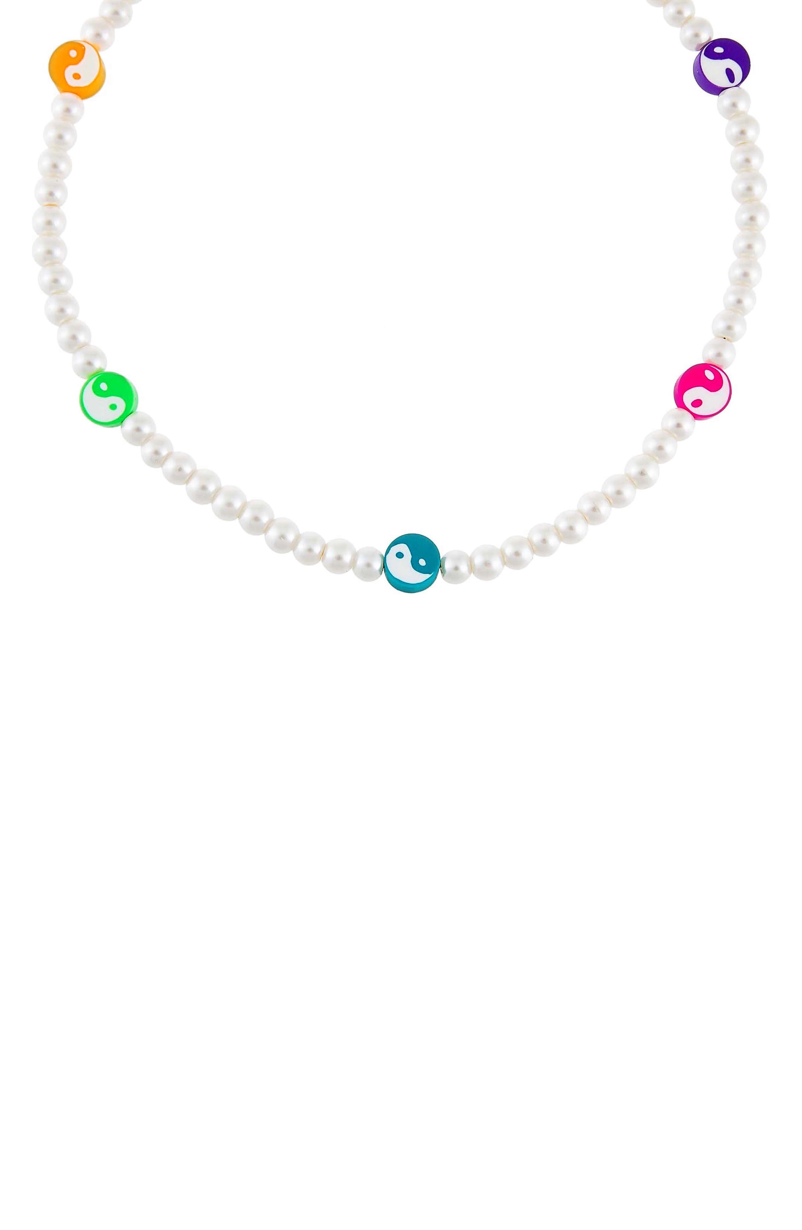 Women's Adina's Jewels Yin Yang Imitation Pearl Beaded Necklace