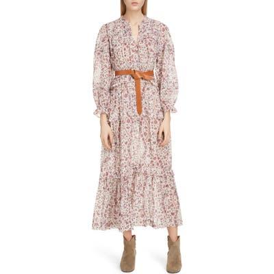Isabel Marant Etoile Likoya Floral Ruffle Midi Dress, 6 FR - Beige
