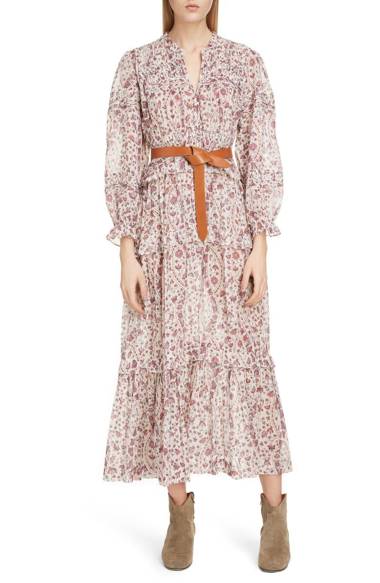 ISABEL MARANT ÉTOILE Likoya Floral Ruffle Midi Dress, Main, color, 250