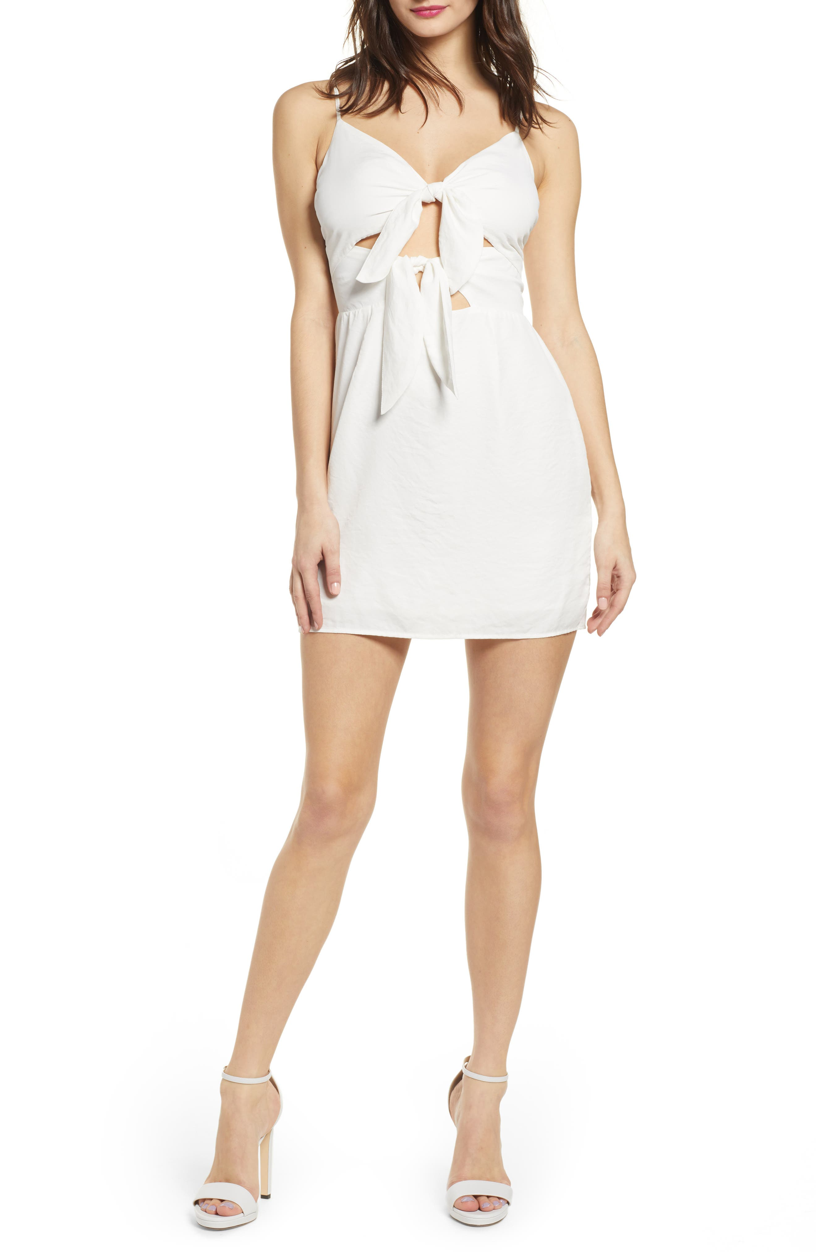 J.o.a. Double Tie Front Minidress, Ivory