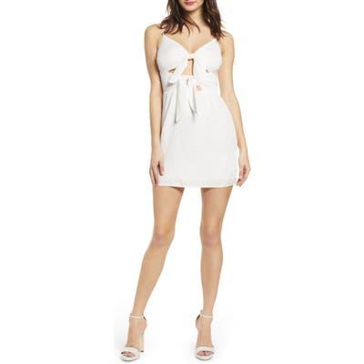 J.o.a. Double Tie Front Minidress, Ivory