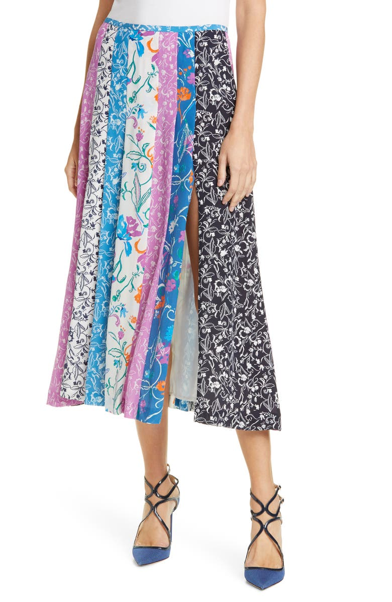 TANYA TAYLOR Flavia Silk Midi Skirt, Main, color, TILE FLORAL PURPLE