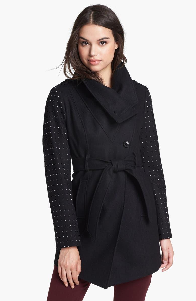 GUESS Studded Sleeve Asymmetrical Wrap Coat, Main, color, 001