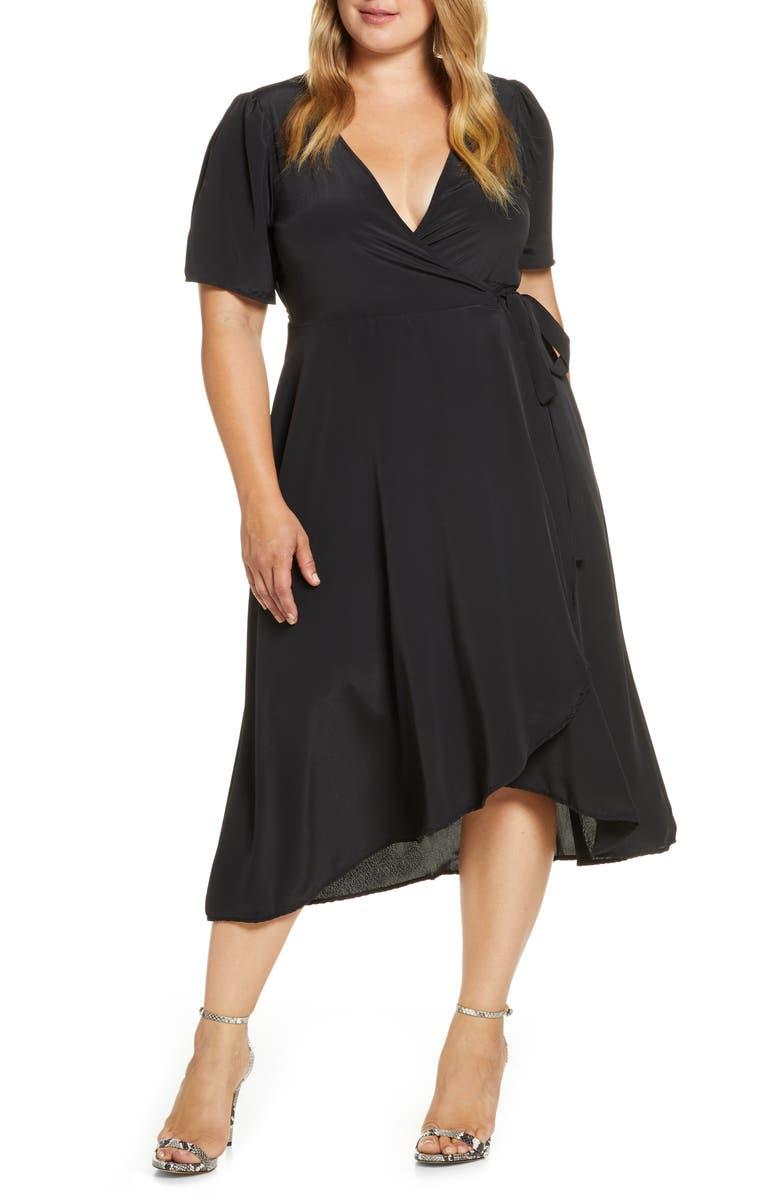 BOBEAU Lumi Puff Sleeve Wrap Dress, Main, color, 001