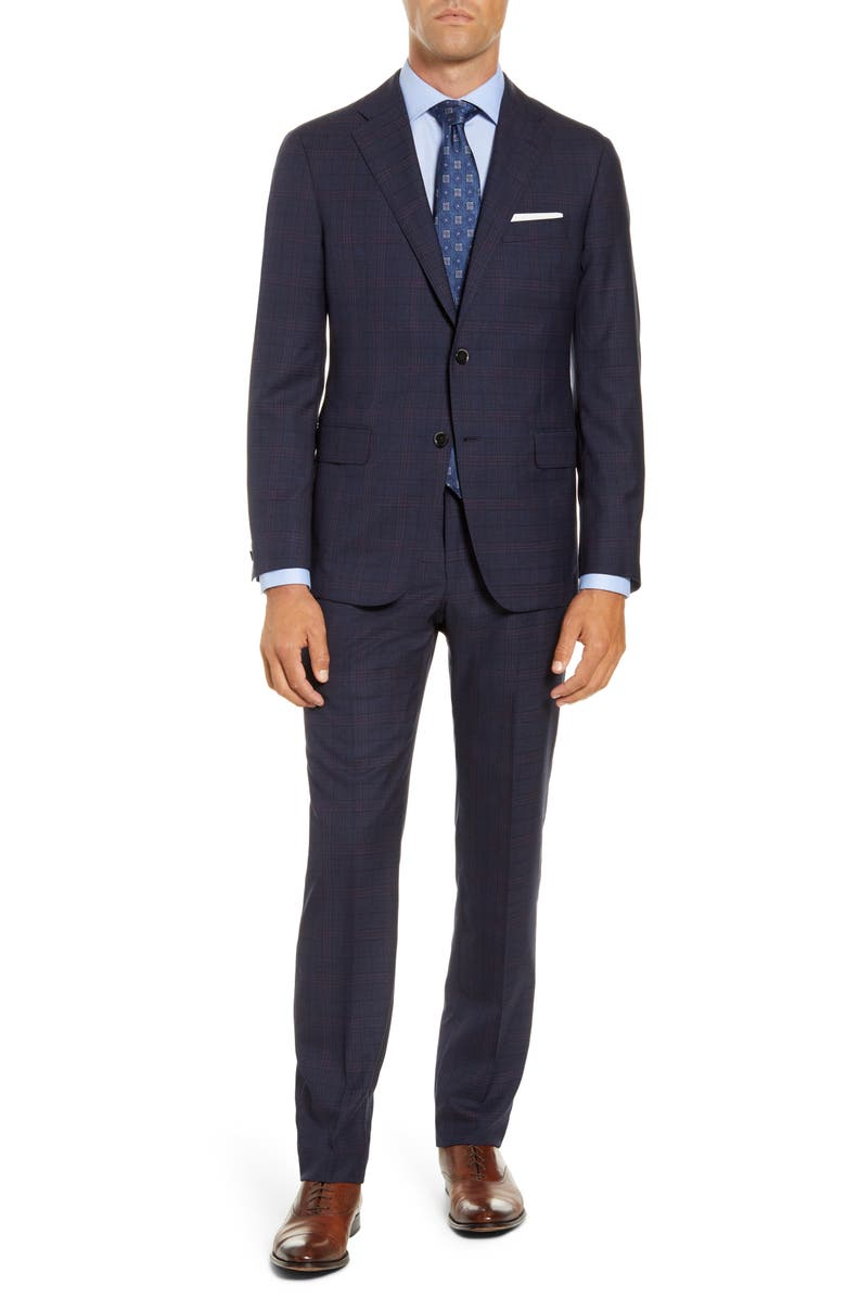 HICKEY FREEMAN Classic Fit Plaid Wool Suit, Main, color, WINTER BLUE