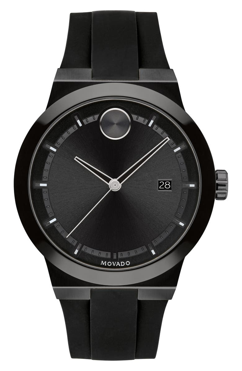 MOVADO Bold Fusion Silicone Strap Watch, 42mm, Main, color, BLACK