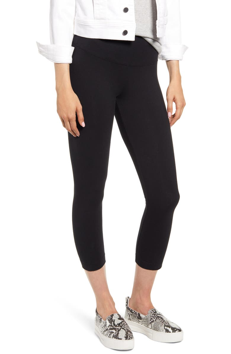 LYSSÉ Flattering Crop Leggings, Main, color, BLACK