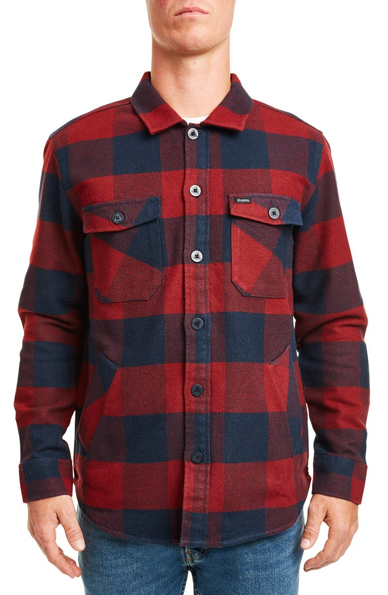 BRIXTON Durham Buffalo Plaid Button-Up Flannel Shirt Jacket, Main, color, NAVY/ RED