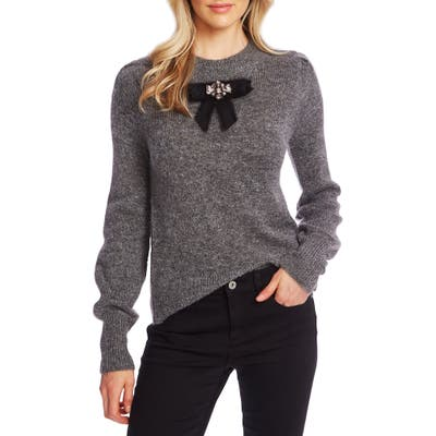 Cece Jeweled Bow Detail Sweater, Grey