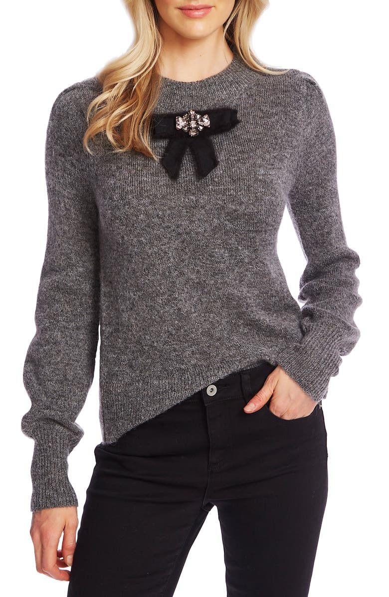 CECE Jeweled Bow Detail Sweater, Main, color, SMOKE GREY