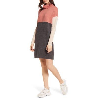 Socialite Turtleneck Knit Dress, Coral