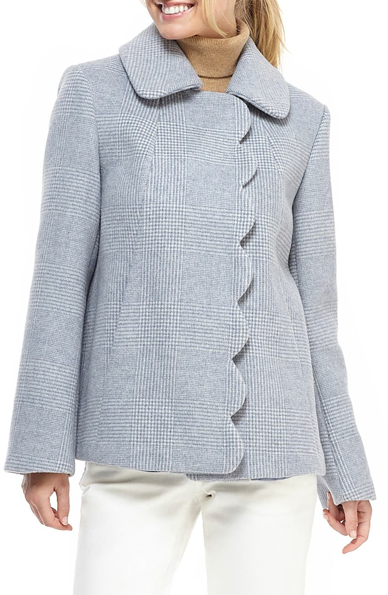 GAL MEETS GLAM COLLECTION Aubrey Scalloped Houndstooth Check Coat, Main, color, BLUE MULTI