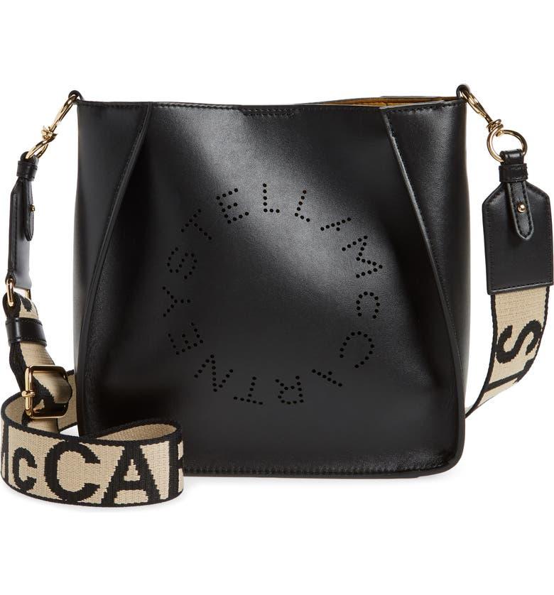 STELLA MCCARTNEY Eco Mini Faux Leather Crossbody Bag, Main, color, BLACK