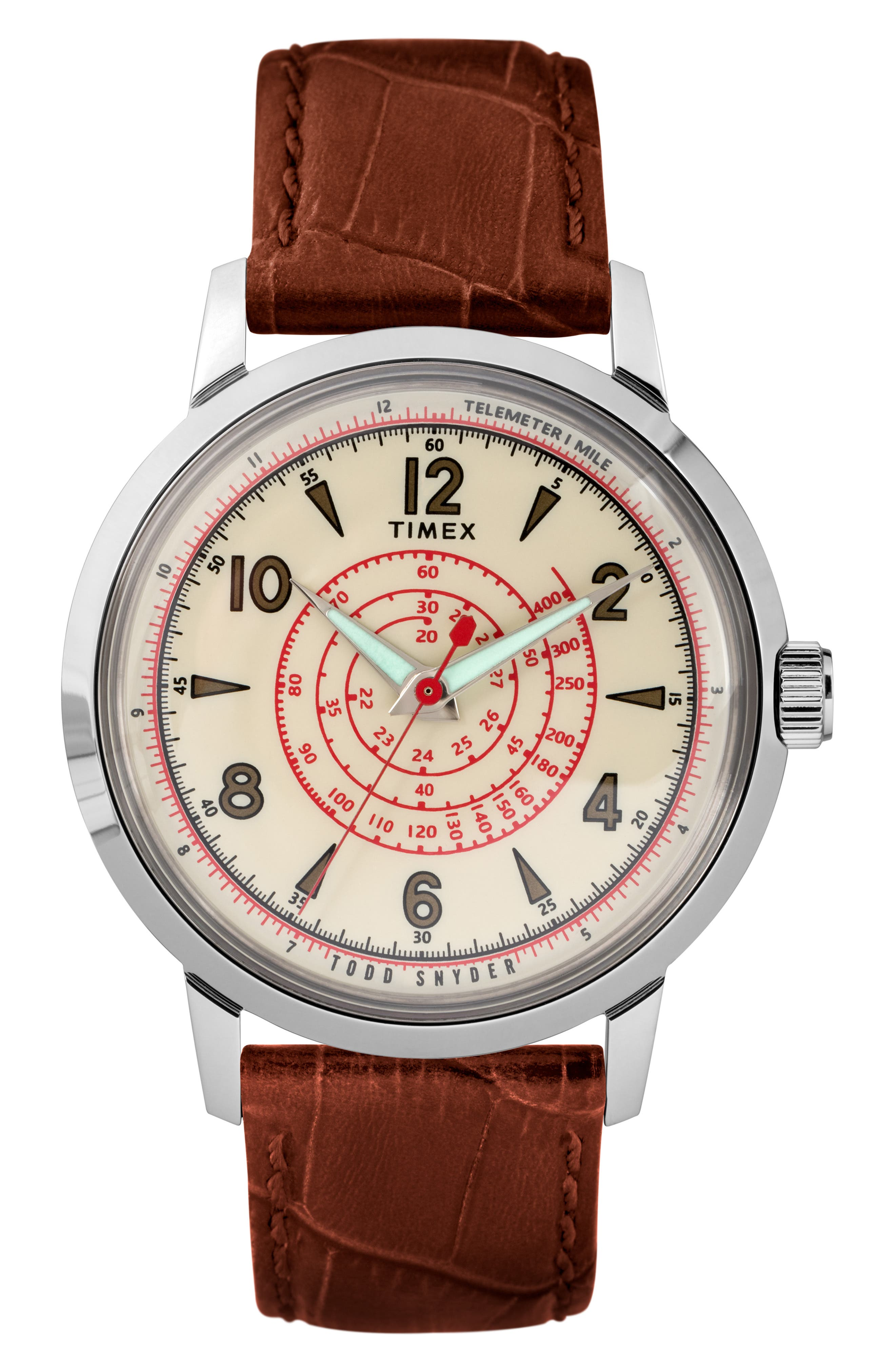 Beekman Leather Strap Watch, 40mm, Main, color, BROWN/ WHITE