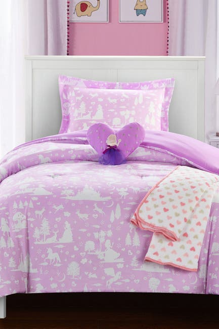 "Image of Chic Home Bedding Full Emera Two-tone ""Fantasy Forest"" Fairy Tale Theme Comforter - Lavender"