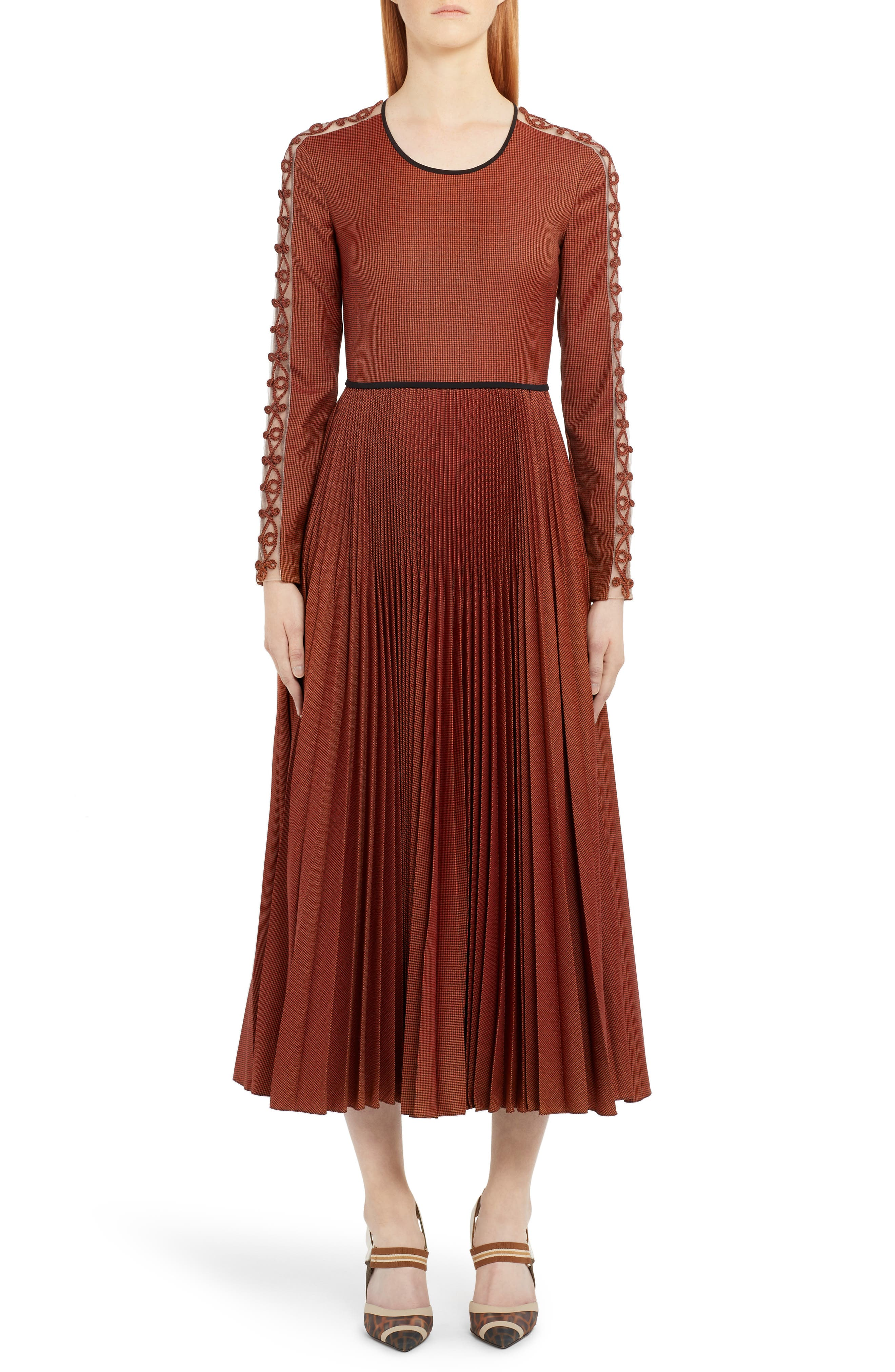 Fendi Long Sleeve Rope Trim Pleated Wool Blend Midi Dress, US / 42 IT - Orange