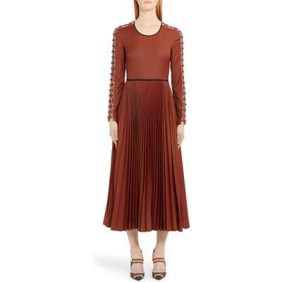 Fendi Long Sleeve Rope Trim Pleated Wool Blend Midi Dress, US / 42 IT - Orange