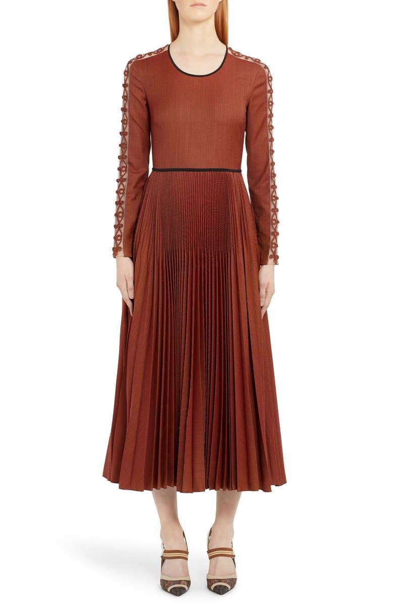 FENDI Long Sleeve Rope Trim Pleated Wool Blend Midi Dress, Main, color, ORANGE