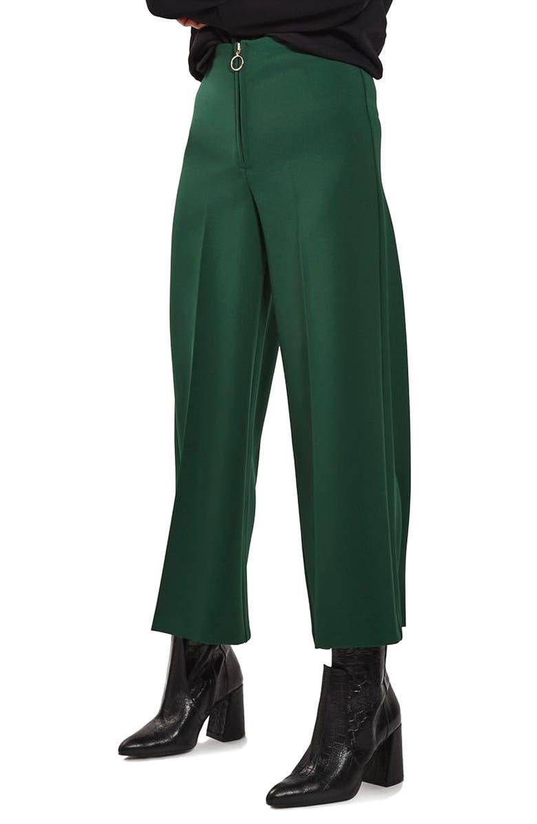 TOPSHOP Zip Wide Leg Trousers, Main, color, 301