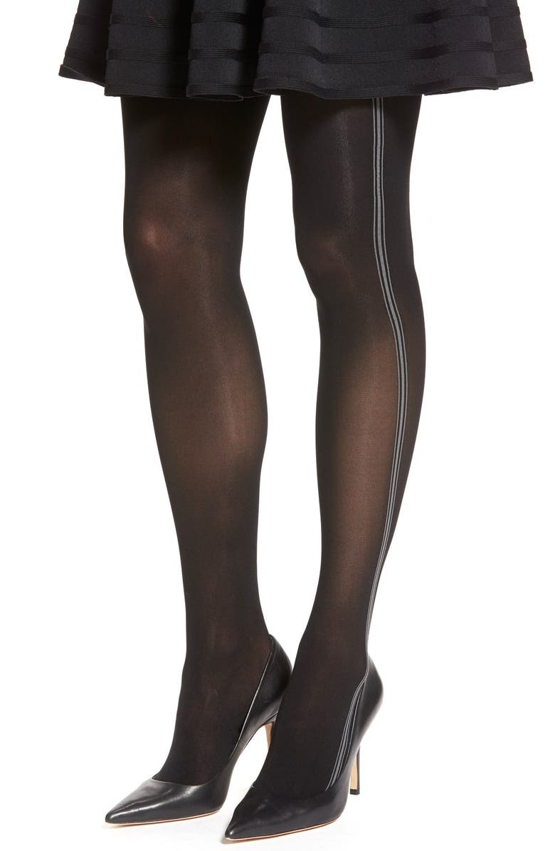 ELIE TAHARI Triple Side Stripe Control Top Tights, Main, color, 001