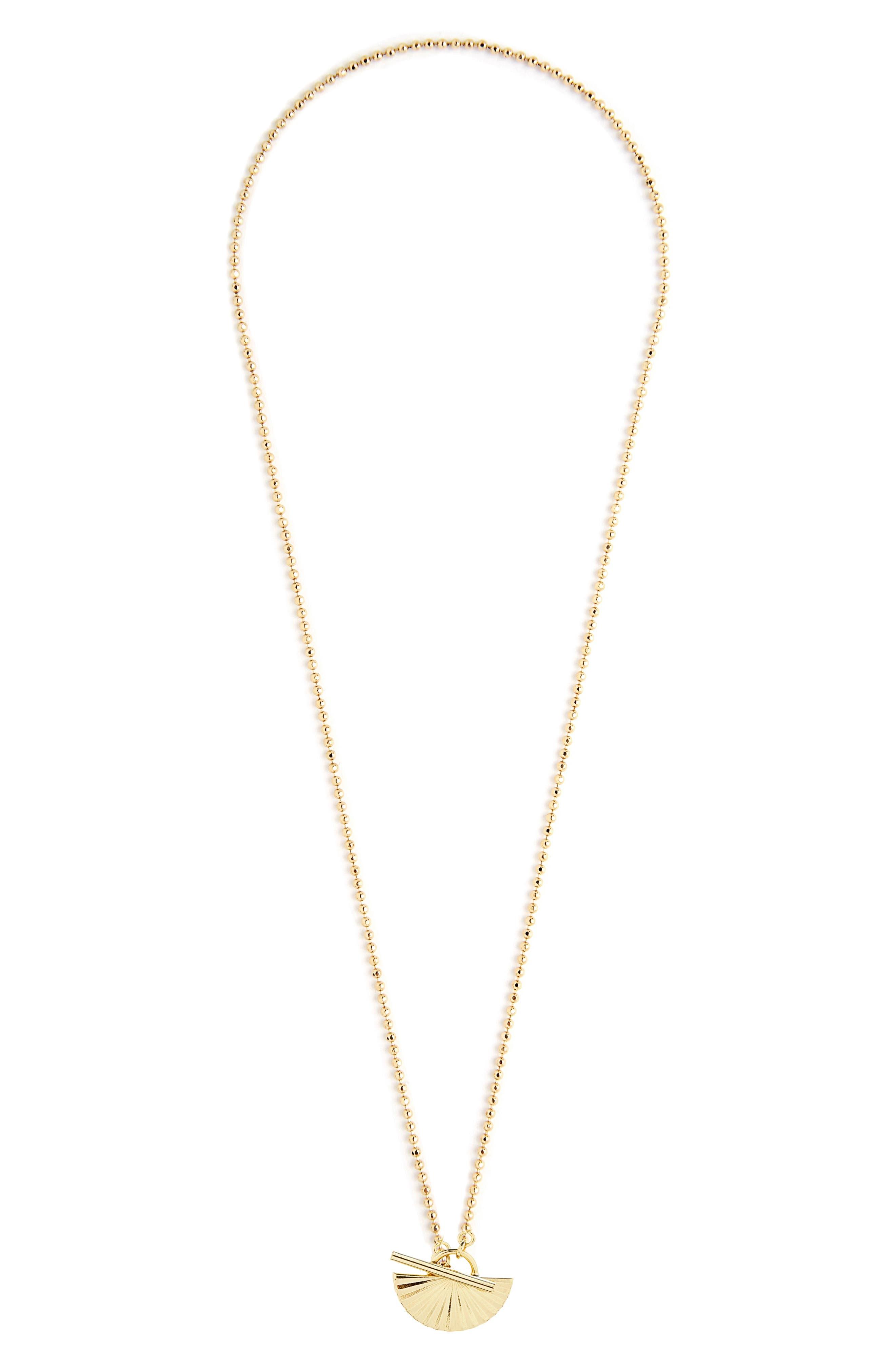 Celeste Fan Pendant Toggle Necklace