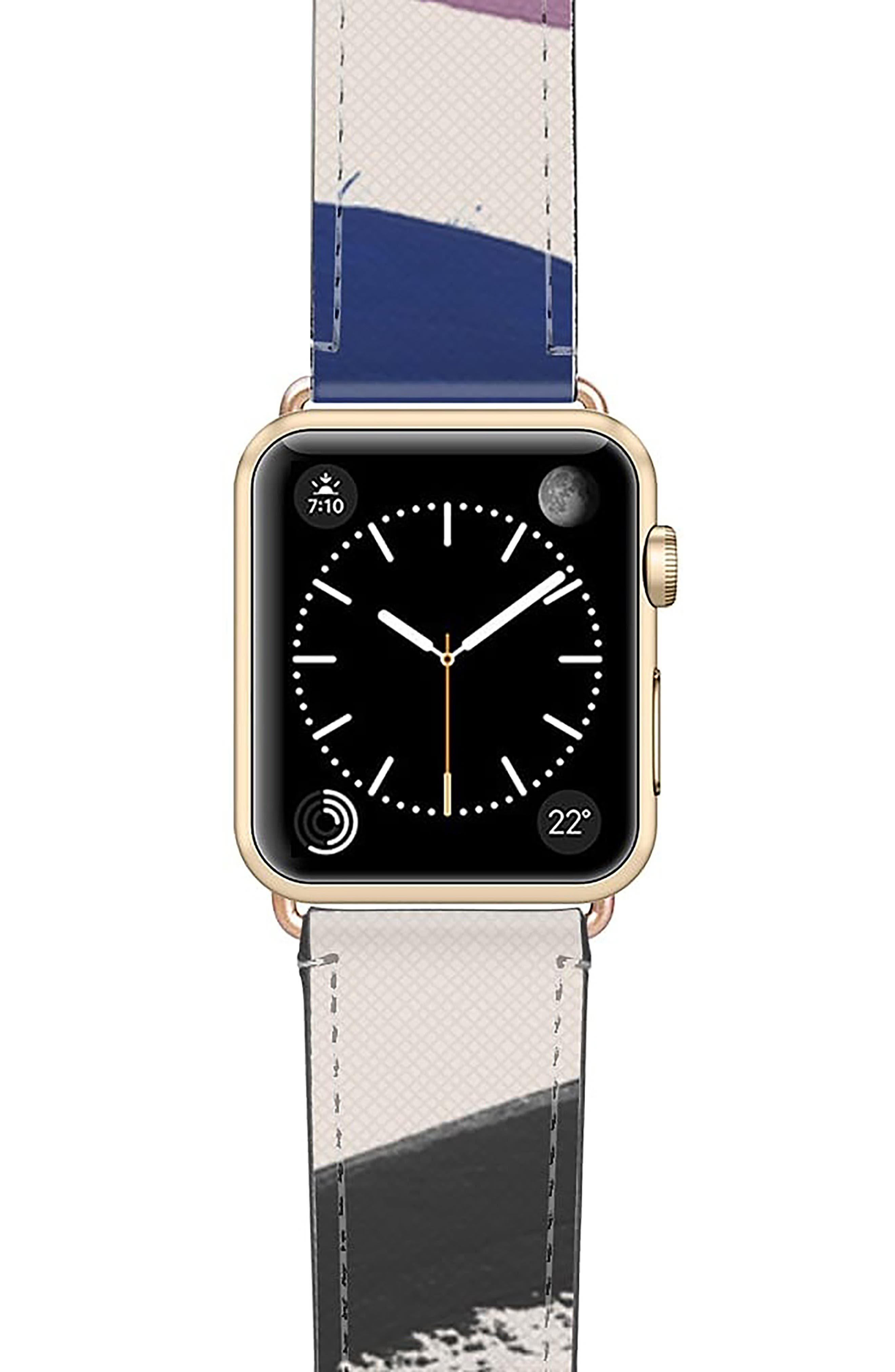 Zebra Pop Saffiano Faux Leather Apple Watch Strap