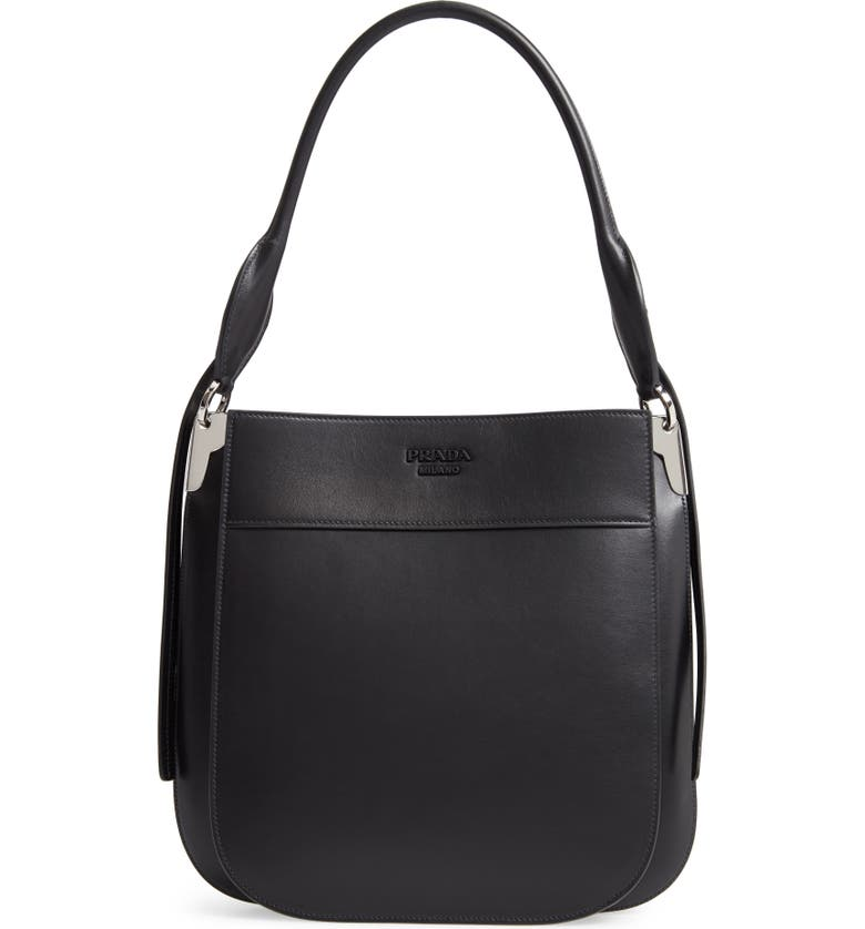 PRADA Medium City Leather Hobo Bag, Main, color, NERO