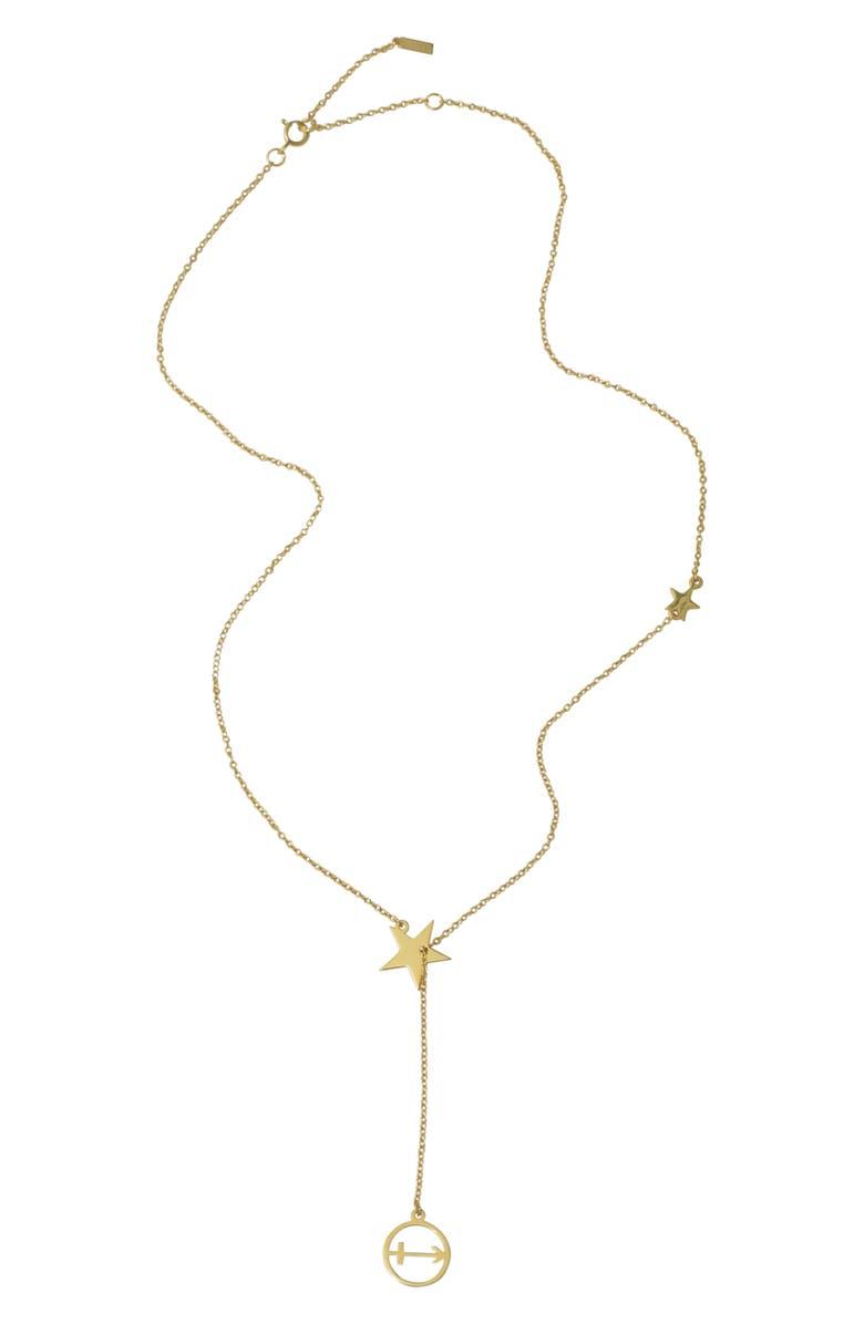 ADORNIA Sagittarius Zodiac Lariat Necklace, Main, color, METALLIC GOLD