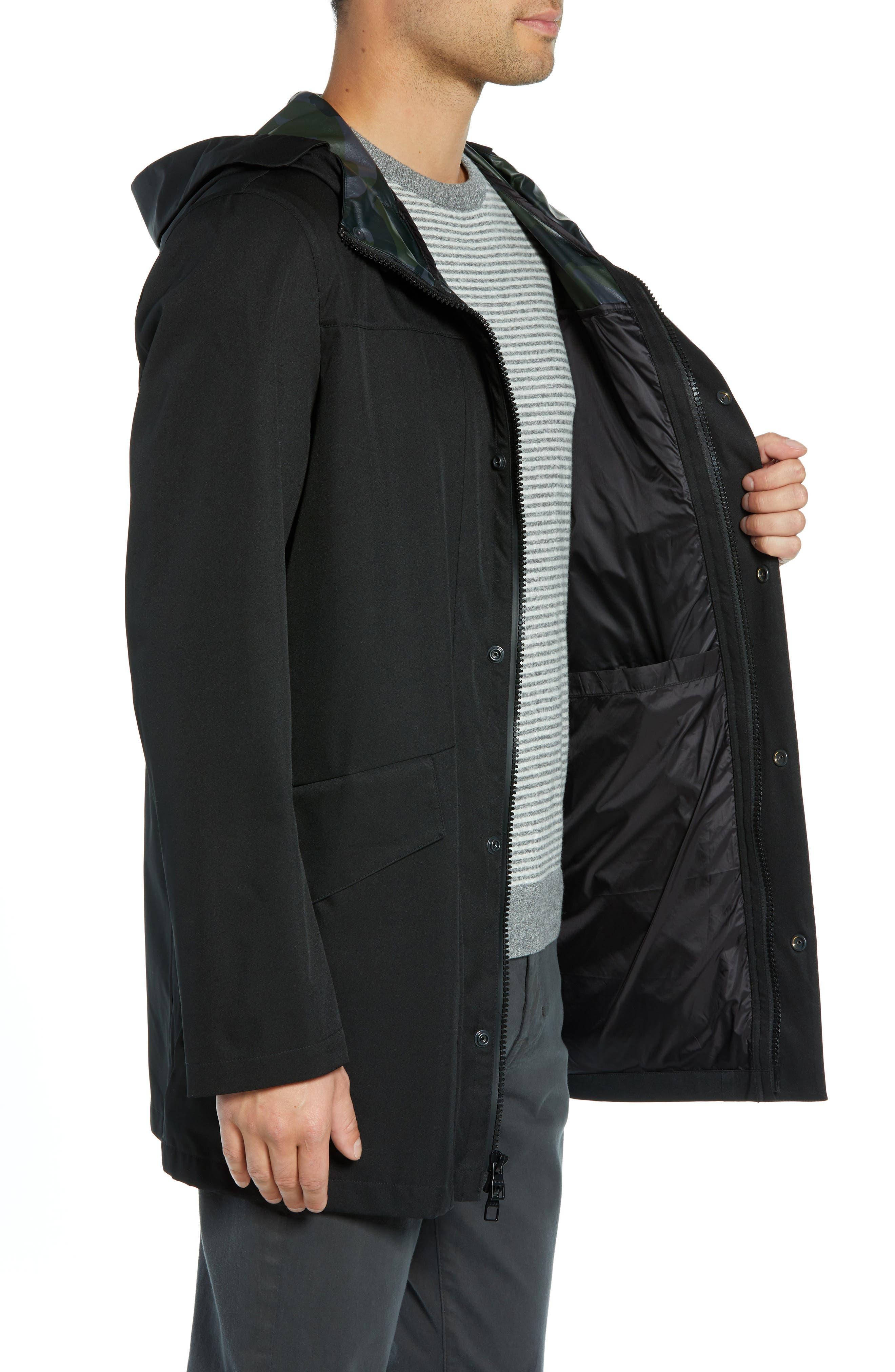 ,                             Packable Water-Resistant Raincoat,                             Alternate thumbnail 4, color,                             BLACK