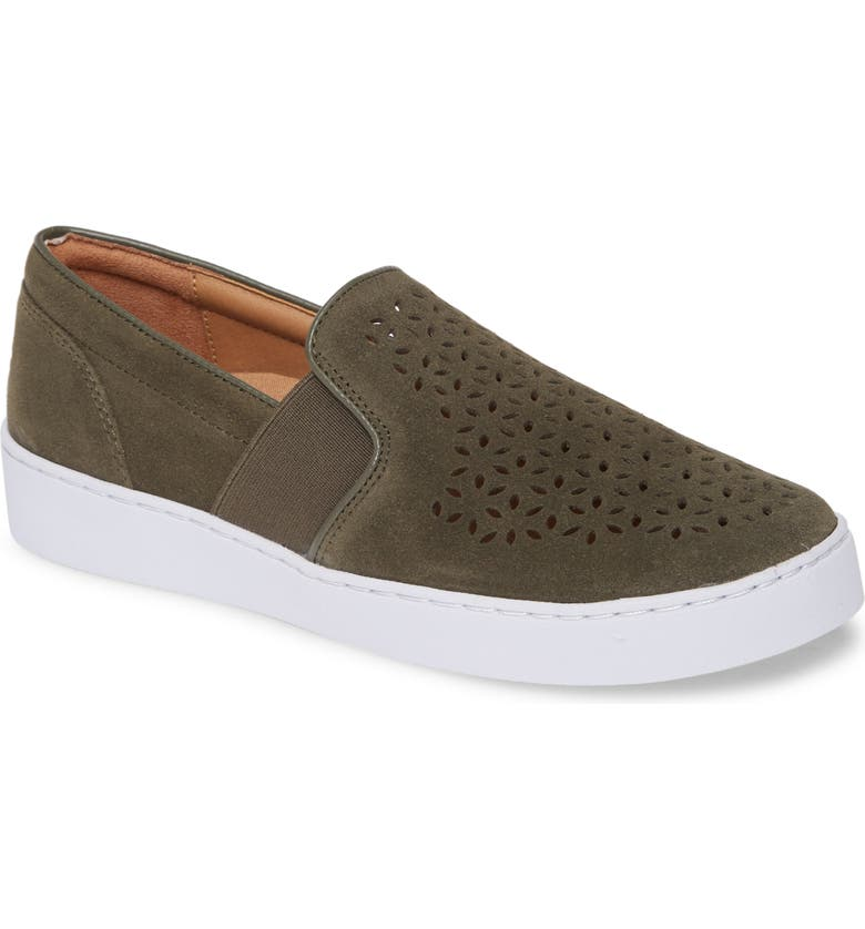 VIONIC Kani Perforated Slip-On Sneaker, Main, color, OLIVE SUEDE