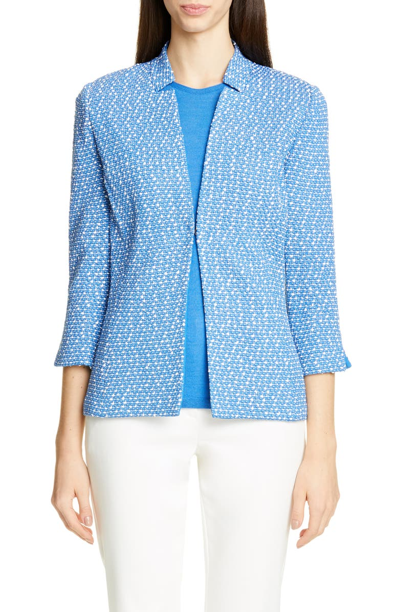 ST. JOHN COLLECTION Engineered Coastal Texture Tweed Knit Jacket, Main, color, WHITE/ LAKE MULTI