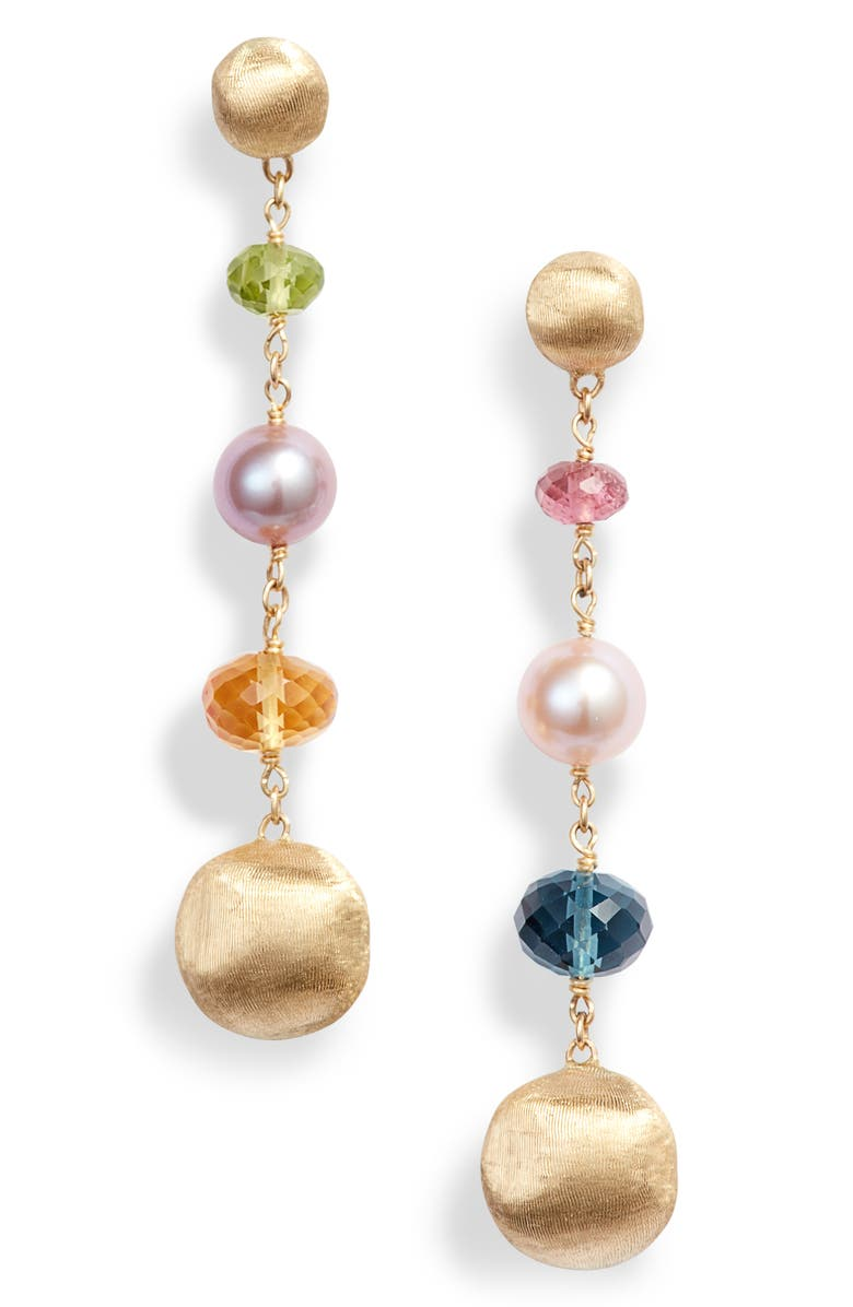 MARCO BICEGO Africa Semiprecious Stone & Pearl Drop Earrings, Main, color, YELLOW GOLD/ MULTI