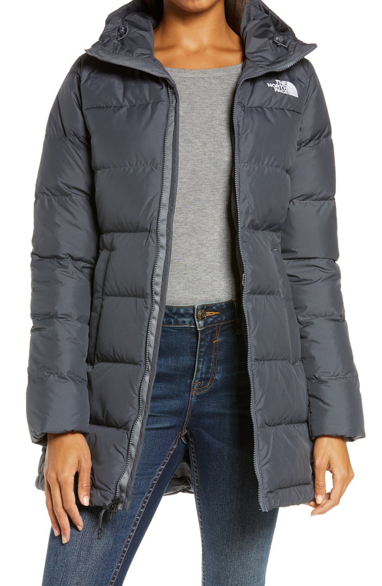 THE NORTH FACE Gotham 550 Fill Power Down Hooded Parka, Main, color, VANADIS GREY