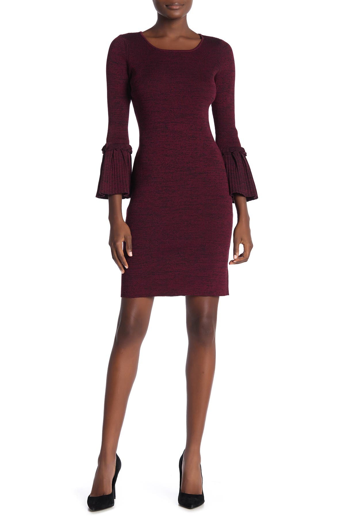 Image of Nina Leonard Ribbed Knit Bell Sleeve Sweater Dress