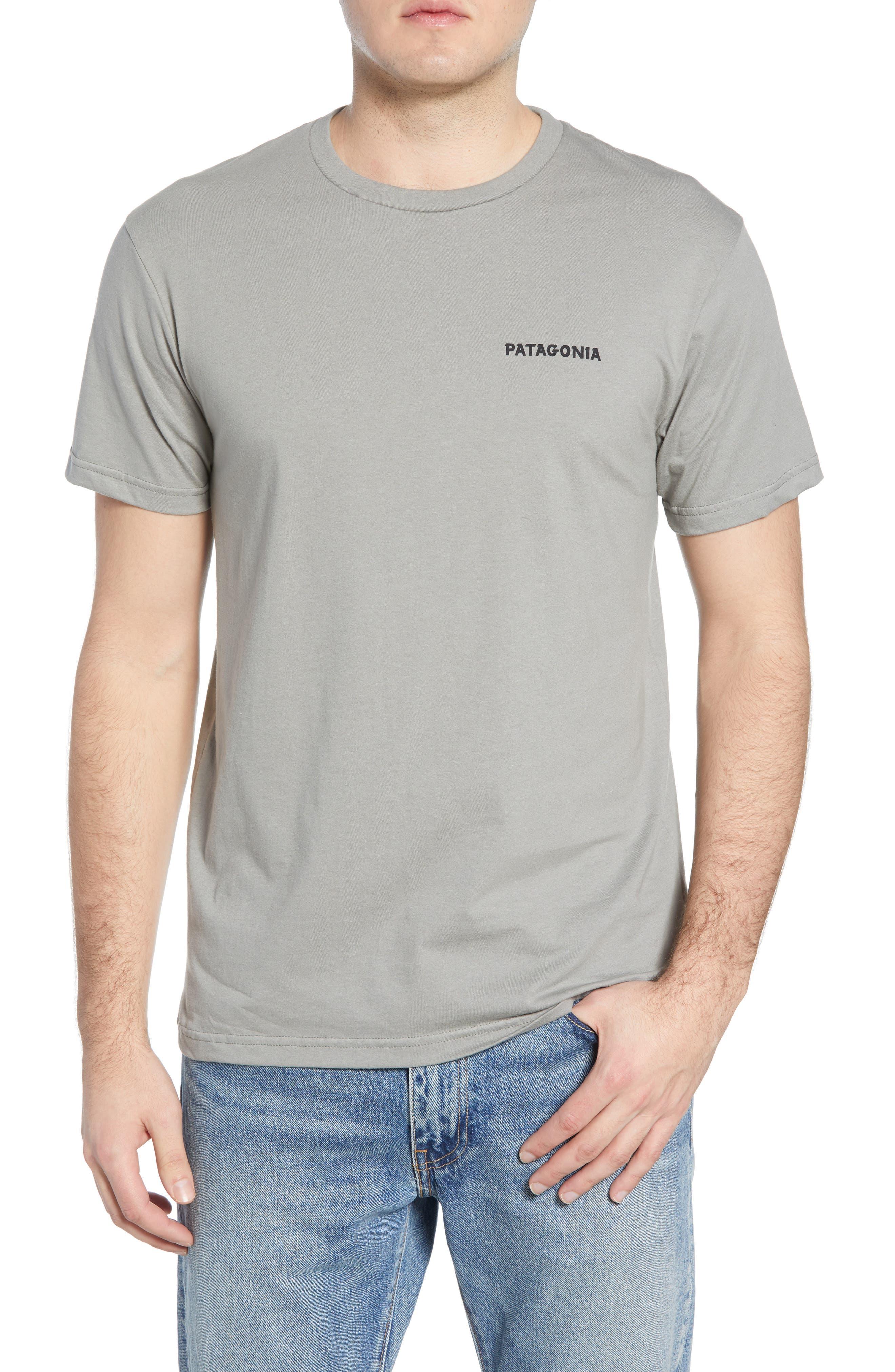 Patagonia Knobby Lines Graphic Organic Cotton T-Shirt, Grey