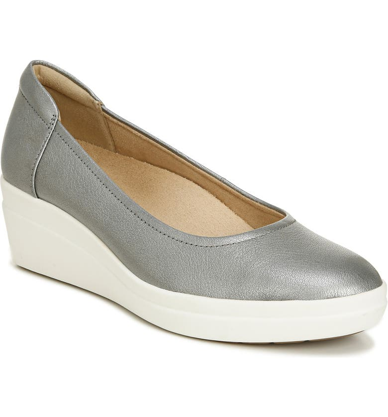NATURALIZER Susan Wedge Sneaker, Main, color, PEWTER LEATHER