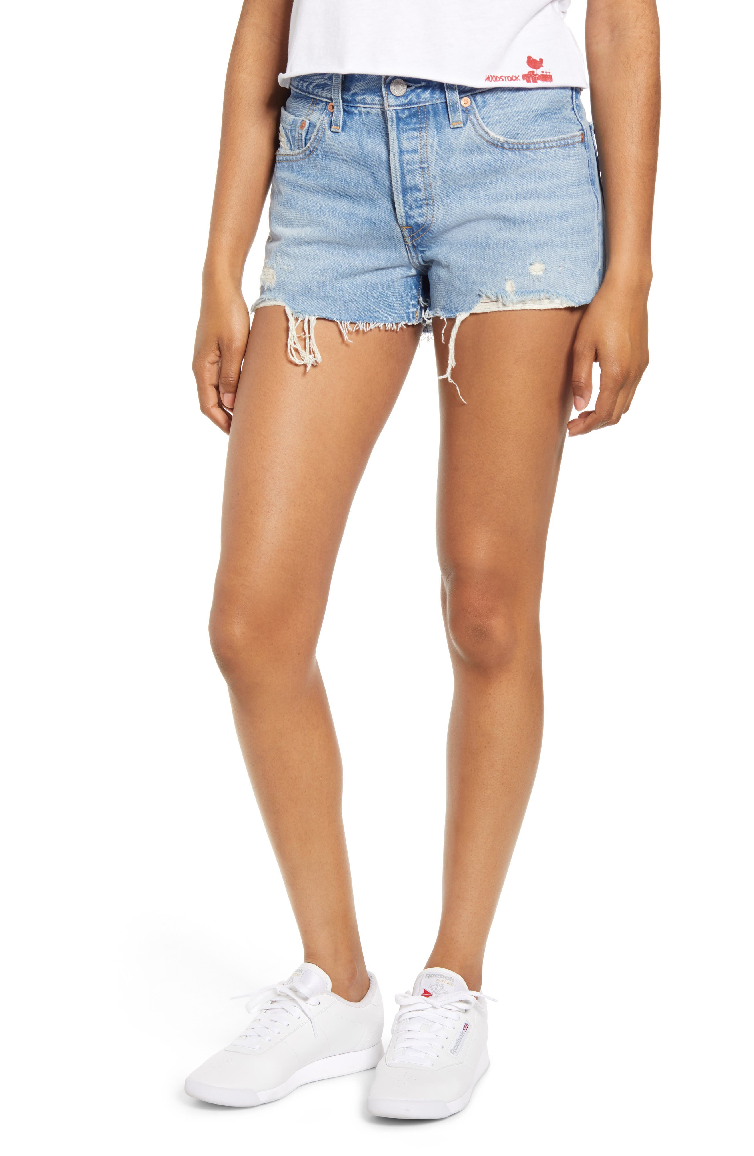 Levi's® 501® High Waist Cutoff Denim Shorts (Luxor Light Destructed)