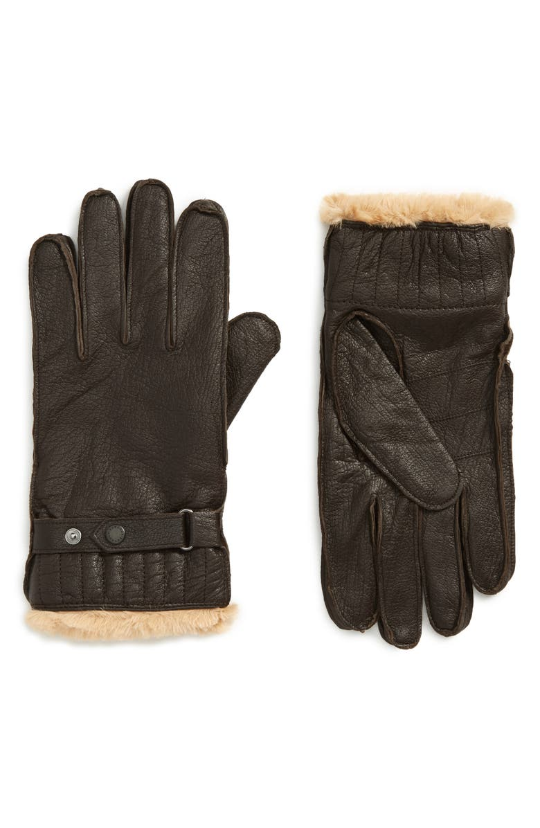 BARBOUR Leather Gloves, Main, color, BROWN