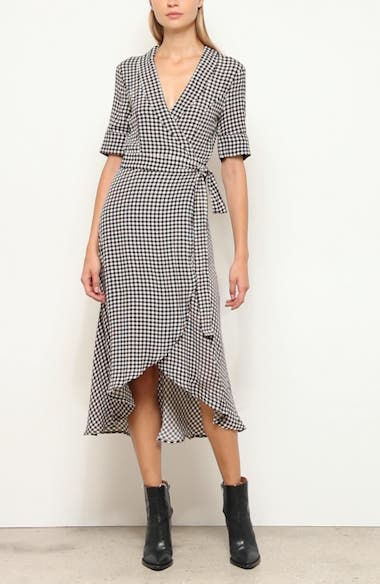 Gingham Print Midi Wrap Dress, video thumbnail