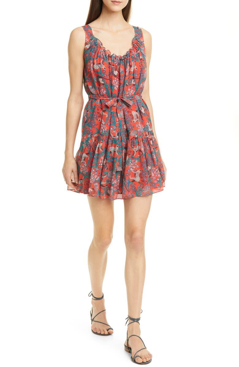 SALONI Robyn Jungle Print Silk Minidress, Main, color, RUBY JUNGLE MONKEY