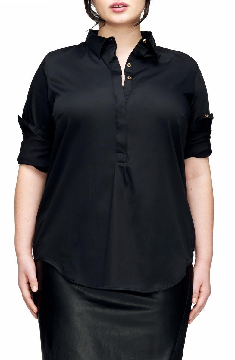 UNIVERSAL STANDARD Elbe Shirt, Main, color, BLACK