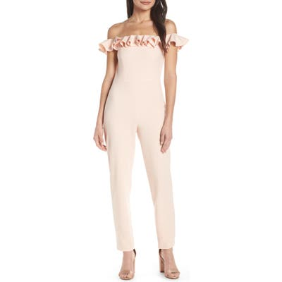 French Connection Off The Shoulder Ruffle Jumpsuit, Pink