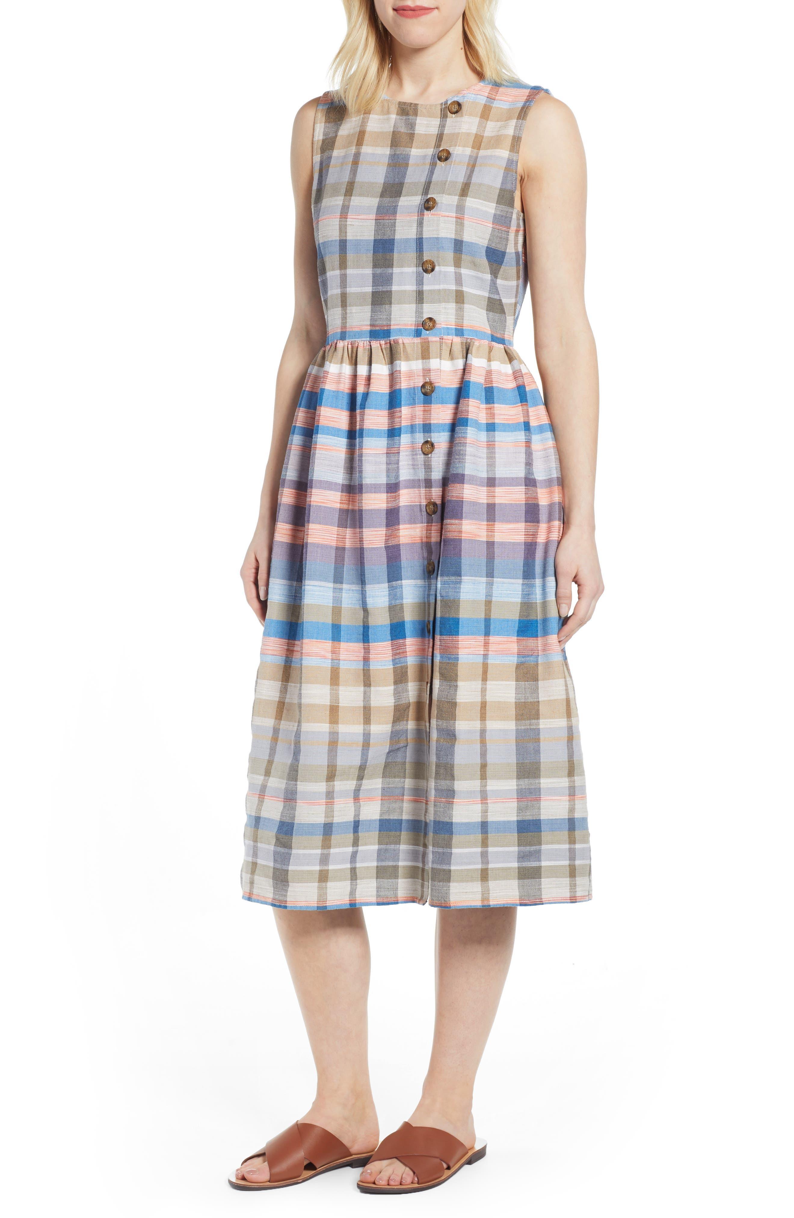 Caslon Plaid Button Midi Dress, Blue