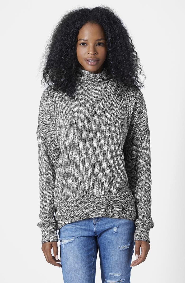 TOPSHOP Funnel Neck Cocoon Sweater, Main, color, 001