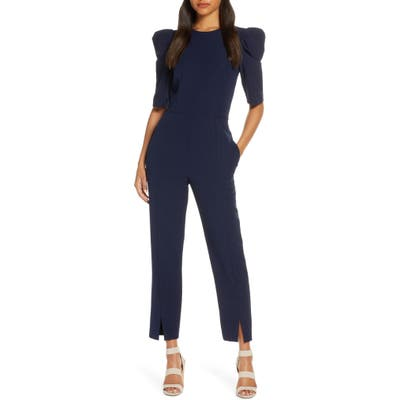 Maggy London Puff Sleeve Jumpsuit, Blue