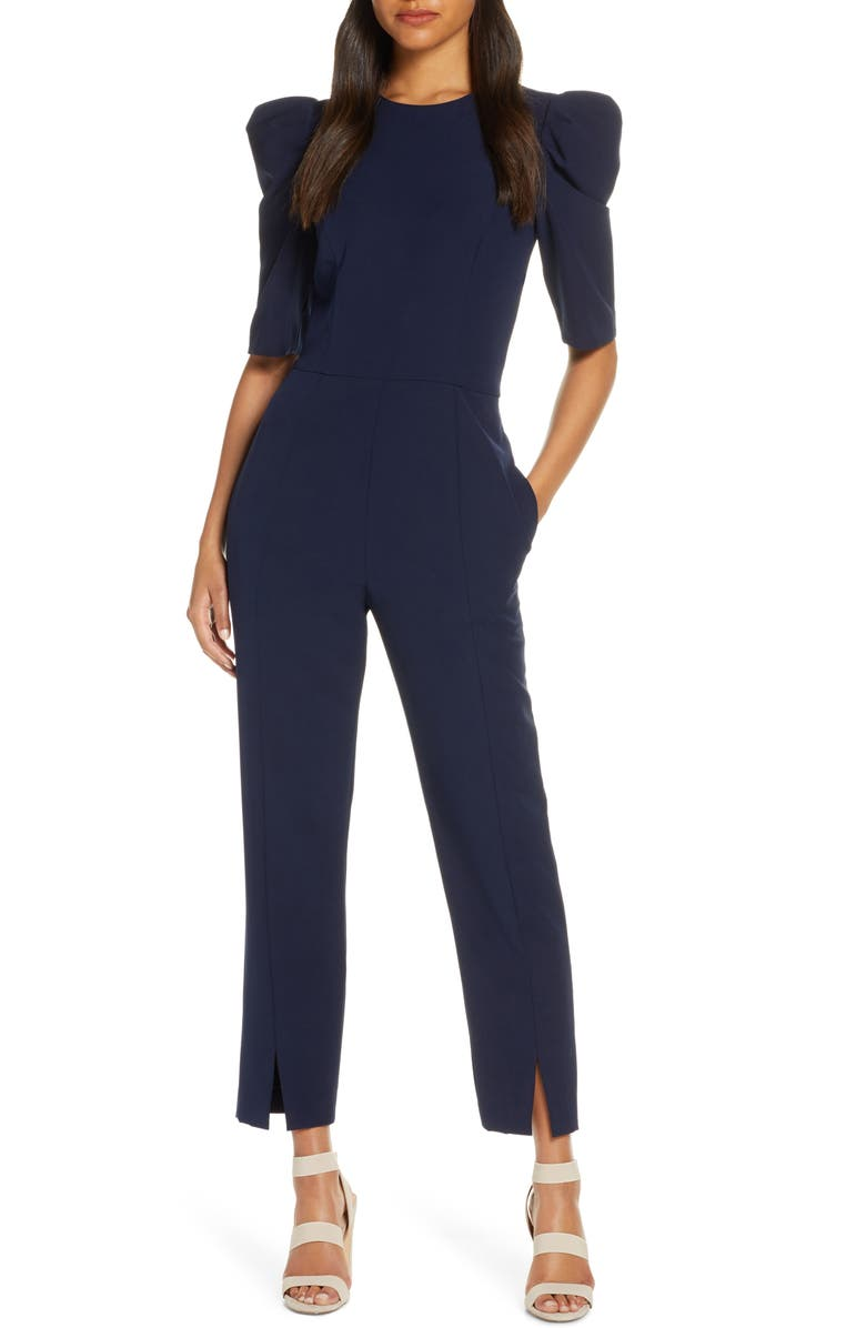 Puff Sleeve Jumpsuit by Maggy London
