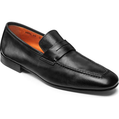 Santoni Fox Packable Penny Loafer, Black