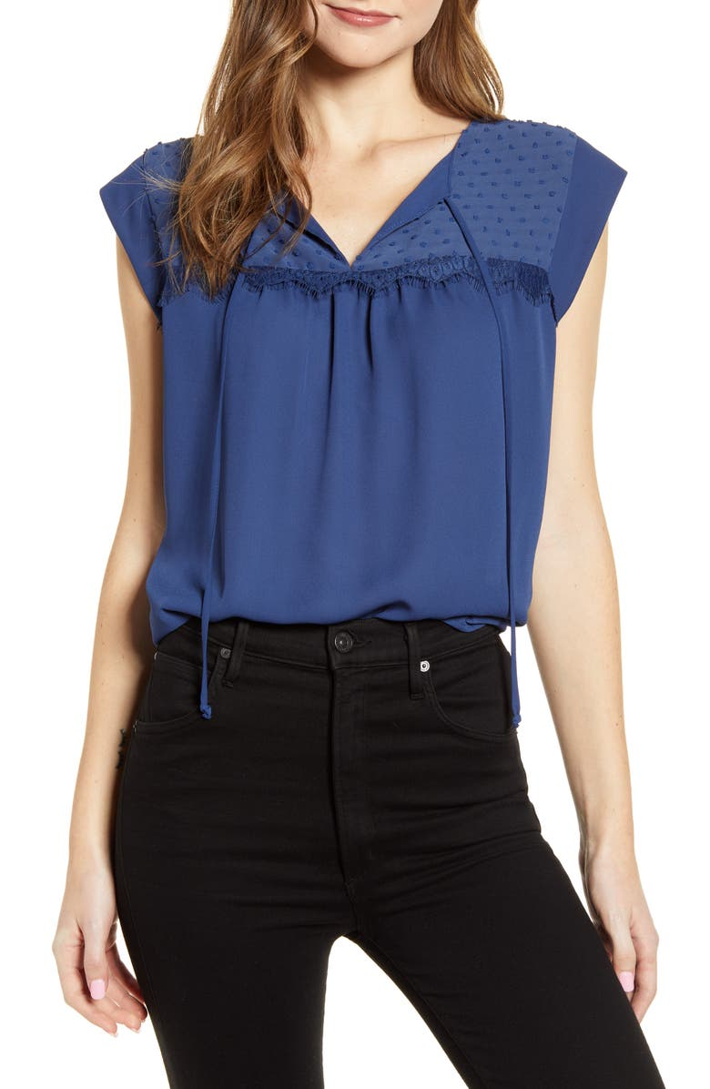 GIBSON Mixed Media Tie Neck Blouse, Main, color, 400
